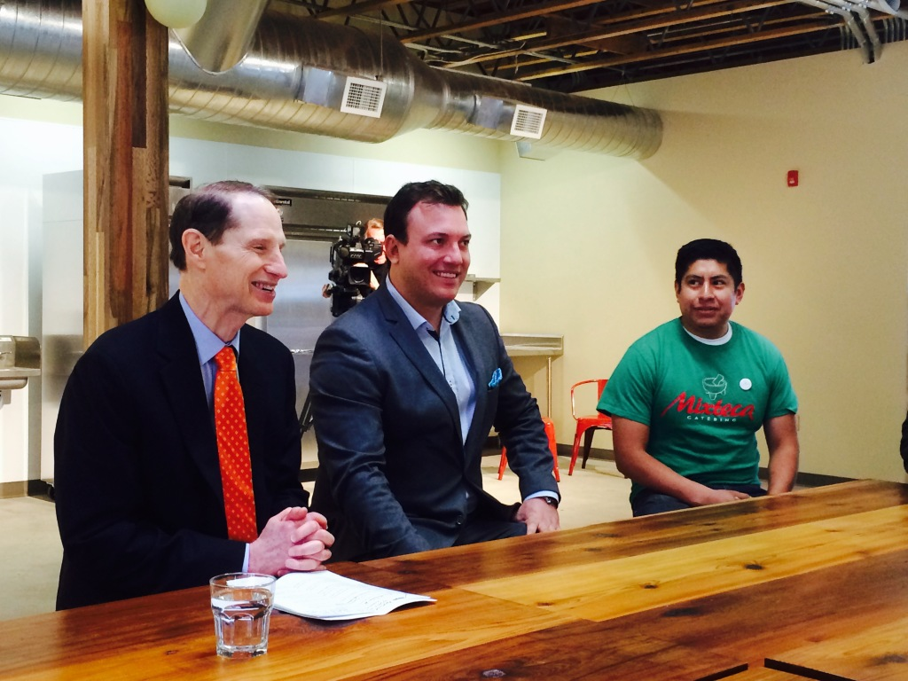 Manuel Foucher (center) with Senator Ron Wyden (left) and Gaudencio Felipe (right.)