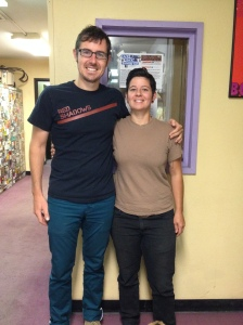 Host Chris Seigel and Guest Stacey Givens in the hallway of KBOO Community Radio
